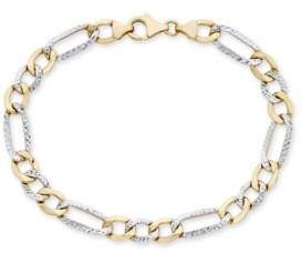 "Italian Gold Men's Diamond Cut 3+1 Figaro Link 8.5"" Bracelet in 10K Yellow and White Gold"