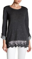 Casual Studio Sequin Lace Hem Sweater