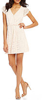 Sequin Hearts Tulip Cap-Sleeve Surplice V-Neck Lace Mock Wrap Fit-and-Flare Dress