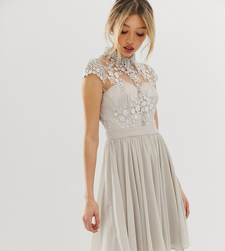 Chi Chi London Petite mini prom dress with lace collar in gray