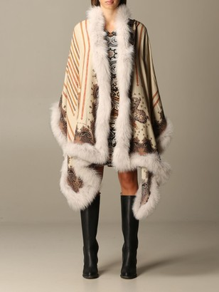 Etro Cashmere And Silk Shawl With Fox Fur Trim