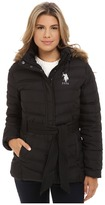 U.S. Polo Assn. Puffer Parka with Self Belt and Detachable Hood