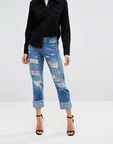 Parisian Ripped Boyfriend Jeans With Turn Up Hem
