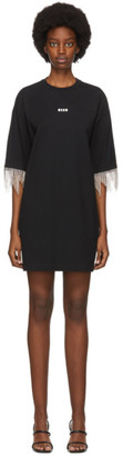 MSGM Black Crystal Tassle T-Shirt Dress