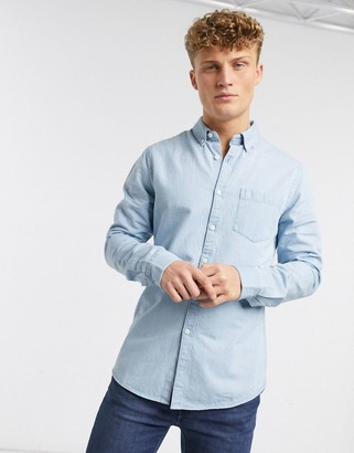 New Look long sleeve denim shirt in light blue
