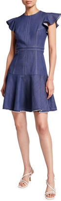 Shoshanna Egle Flounce Denim Dress