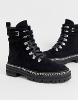 Raid RAID black flat hiker boots with silver hardwear