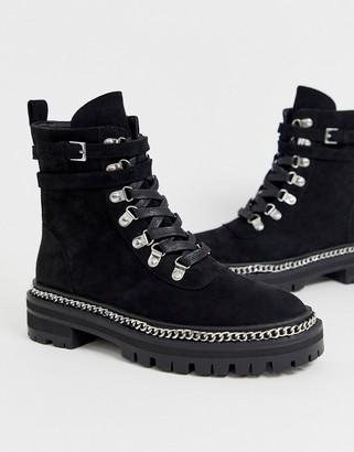 Raid black flat hiker boots with silver hardwear