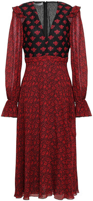 Philosophy di Lorenzo Serafini Lace-paneled Floral-print Crepe Midi Dress