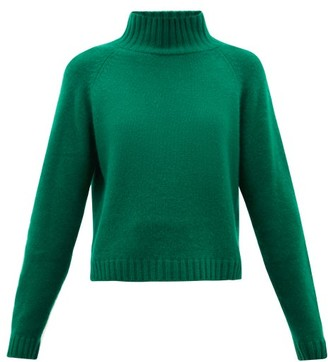 The Elder Statesman Highland Stand-collar Cropped Cashmere Sweater - Womens - Green