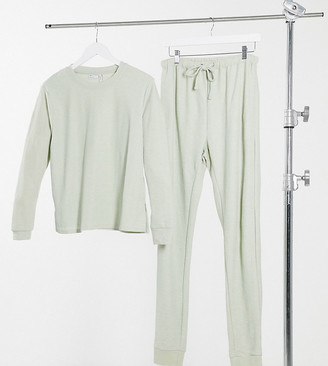 Asos Tall ASOS DESIGN Tall exclusive light weight sweatshirt and trackies set in sage