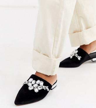Asos Design DESIGN Wide Fit Verona embellished flat shoes in black