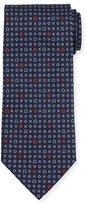 Salvatore Ferragamo Geometric Gancini-Print Silk Tie, Navy/Red