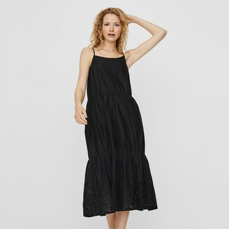Vero Moda Organic Cotton Midi Dress with Shoestring Straps and Broderie Anglaise