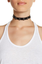 Betsey Johnson Pave Skull Lined Leather Choker
