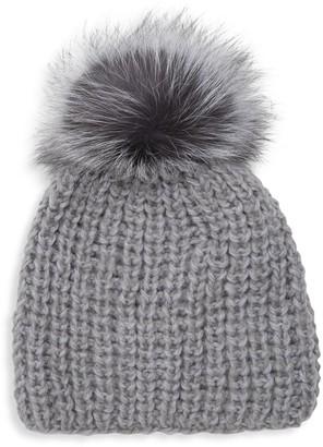 Surell Fox Fur Pom-Pom Beanie