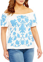 Democracy Plus Off-the-Shoulder Short Sleeve Printed Side Ruched Top
