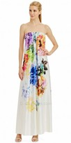 Nicole Miller New York Water Color Strapless Pleated Floral Print Maxi Dress