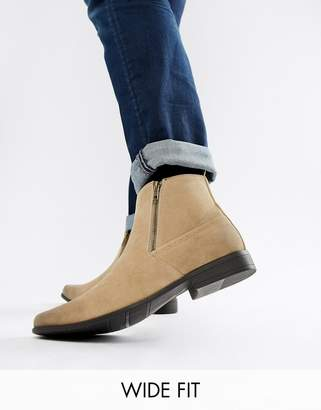 Asos Design Wide Fit chelsea boots in stone faux suede with zips