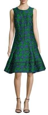 Oscar de la Renta Floral-Print Fit-&-Flare Dress