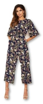 AX Paris Women's Flared Leg Floral Jumpsuit