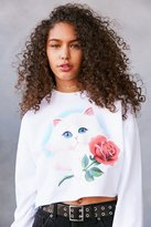 Truly Madly Deeply Airbrush Cat Crop Pullover Sweatshirt