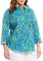 Allison Daley Plus 3/4 Sleeve Paisley Print Button-Front Shirt