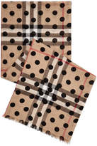 Burberry Polka-dot Checked Wool And Silk-blend Scarf - Camel