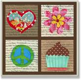Stupell Industries The Kids Room by Stupell Peace, Love, Flowers and Cupcakes Square Wall Plaque