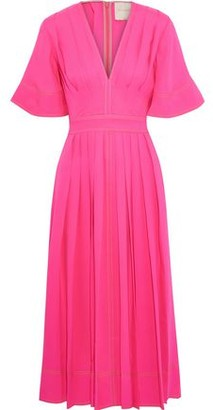 Roksanda Pleated Silk-cady Midi Dress