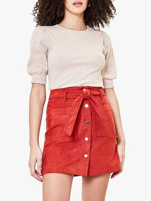 Oasis Stripe Puff Sleeve Top, Red/Multi