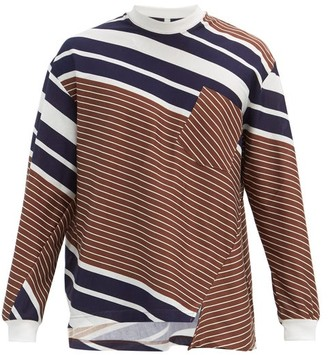 Noma t.d. Twisted-seam Long-sleeve Striped-jersey T-shirt - Brown