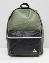 Le Coq Sportif Khaki Leather Look Backpack With Tricolore Trim