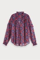 Maison Scotch Sheer Print Top With Ruffle - Xsmall