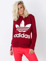 adidas New Adicolor Trefoil Hoodie In Collegiate Burgundy Womens Hoodies
