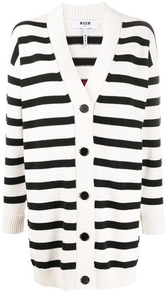 MSGM Striped Logo-Jacquard Cardigan