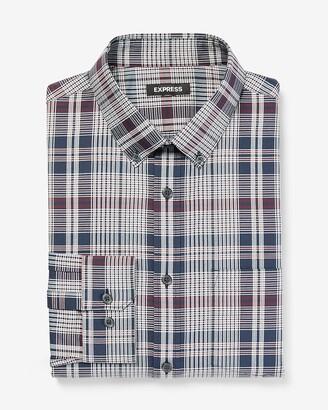 Express Slim Plaid Wrinkle-Resistant Modern Tech Shirt