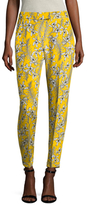 Oscar de la Renta Silk Floral Print Rolled Cuff Pant