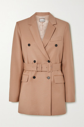 Paul & Joe Laurelie Belted Double-breasted Wool-blend Blazer - Camel
