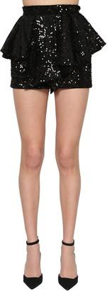Alexandre Vauthier Flared Sequin Velvet Mini Skirt