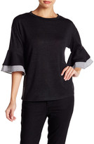 Very J 3/4 Sleeve Flutter Cuff Sweater