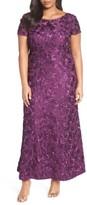 Alex Evenings Plus Size Women's Rosette Lace Short Sleeve A-Line Gown
