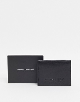 French Connection leather slim fold wallet card holder