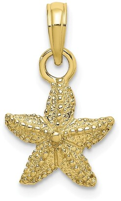 10K Yellow Gold 2-D Starfish Pendant with 18-inch Cable Rope Chain by Versil