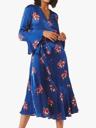 Ghost Idris Floral Satin Wrap Dress, Navy