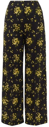 Emilia Wickstead Hullini Floral-print Crepe Wide-leg Trousers - Black Yellow