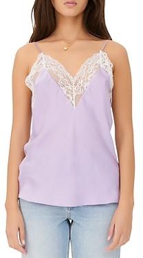 Maje Leatoni Silk Lace Trim Camisole