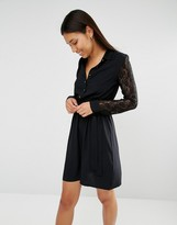 Club L Lace Sleeve And Collar Detail Shirt Dress
