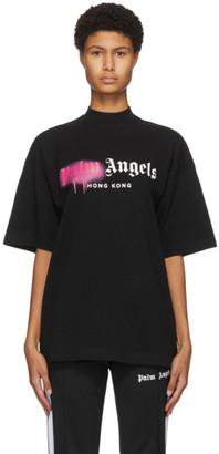 Palm Angels Black Hong Kong Sprayed Logo T-Shirt