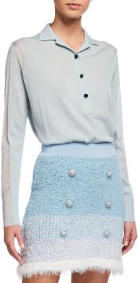 Pinko Carassio Button-Front Metallic Polo Shirt